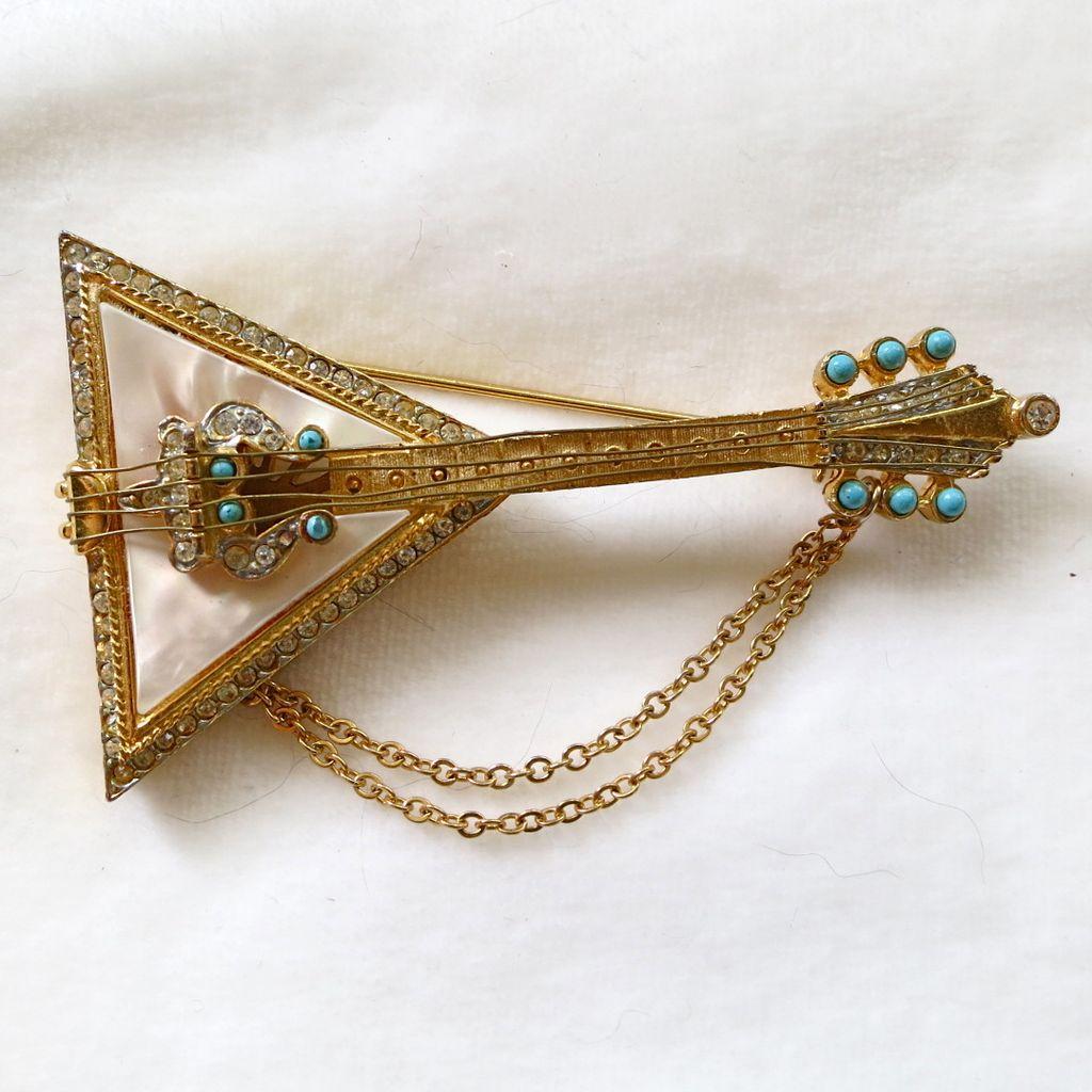Vintage R. Mandle MOP and rhinestone balalaika brooch