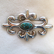 Native American Navajo Sand Cast Sterling Turquoise Brooch