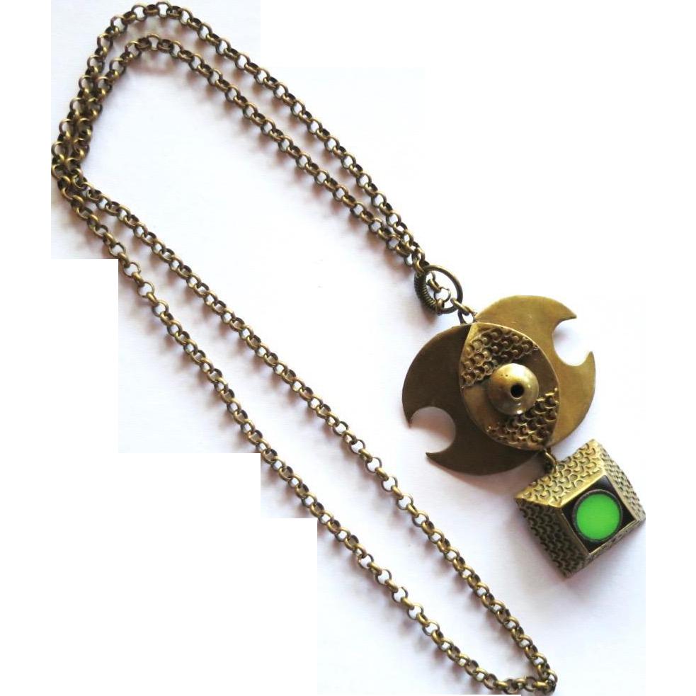 Vintage Pentti Sarpaneva Modernist Bronze Enamel Necklace