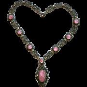 Vintage Art Deco Pink Star Satin Glass Cabochons Necklace