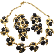 Vintage Schiaparelli Black Rhinestones and Leaves Necklace Pin Earrings Set