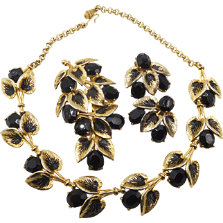 Vintage Schiaparelli Black Rhinestones and Leaves Parure