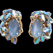 Schoffel of Austria Blue AB Rhinestone & Blue Cabochon Earrings