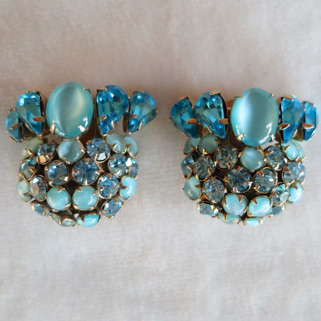 Schreiner aqua blue moonstone rhinestone earrings