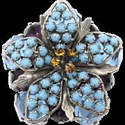 Vintage Schreiner Aqua Blue Purple Rhinestone Brooch Unsigned