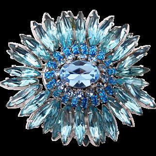Vintage Schreiner Shades of Blue Rhinestone Ruffle Brooch Pendant