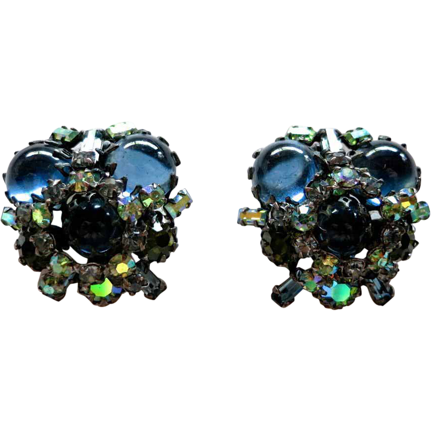 Schreiner blue cabochon and green AB rhinestone earrings