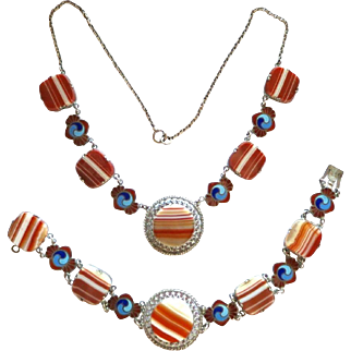 Vintage Sterling Art Deco Scottish Banded Agate Enamel Necklace and Bracelet Set