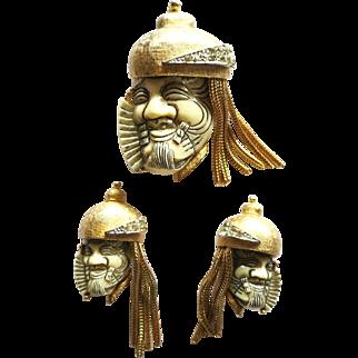 Vintage Selro Noh Warrior Brooch Earrings