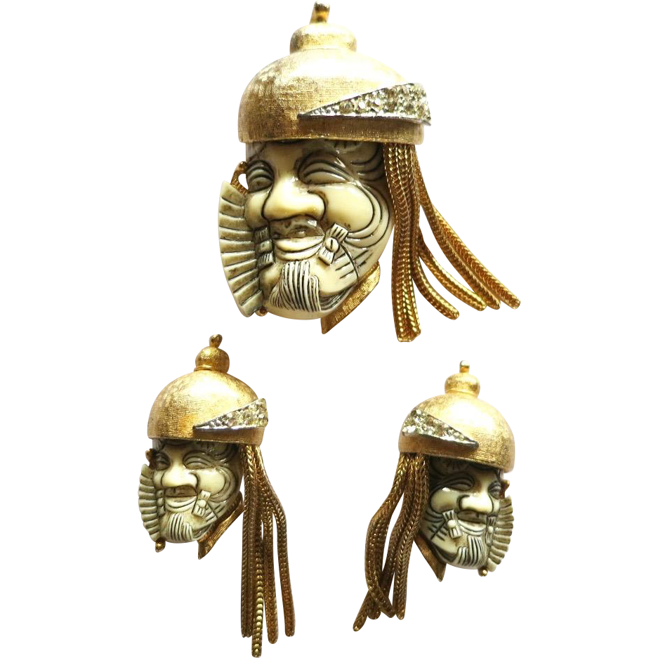 Vintage Selro Noh Warrior Brooch Earrings
