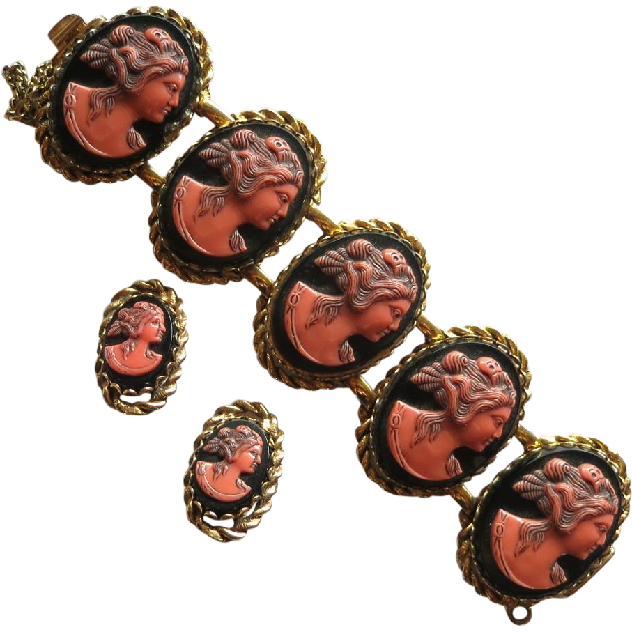 Wide Selro Cameo Faces Bracelet Set  Hard to Find!