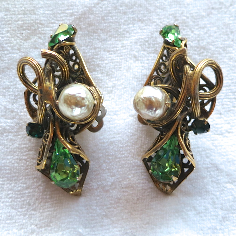 Ornate green rhinestone and faux pearl clip earrings Selro style