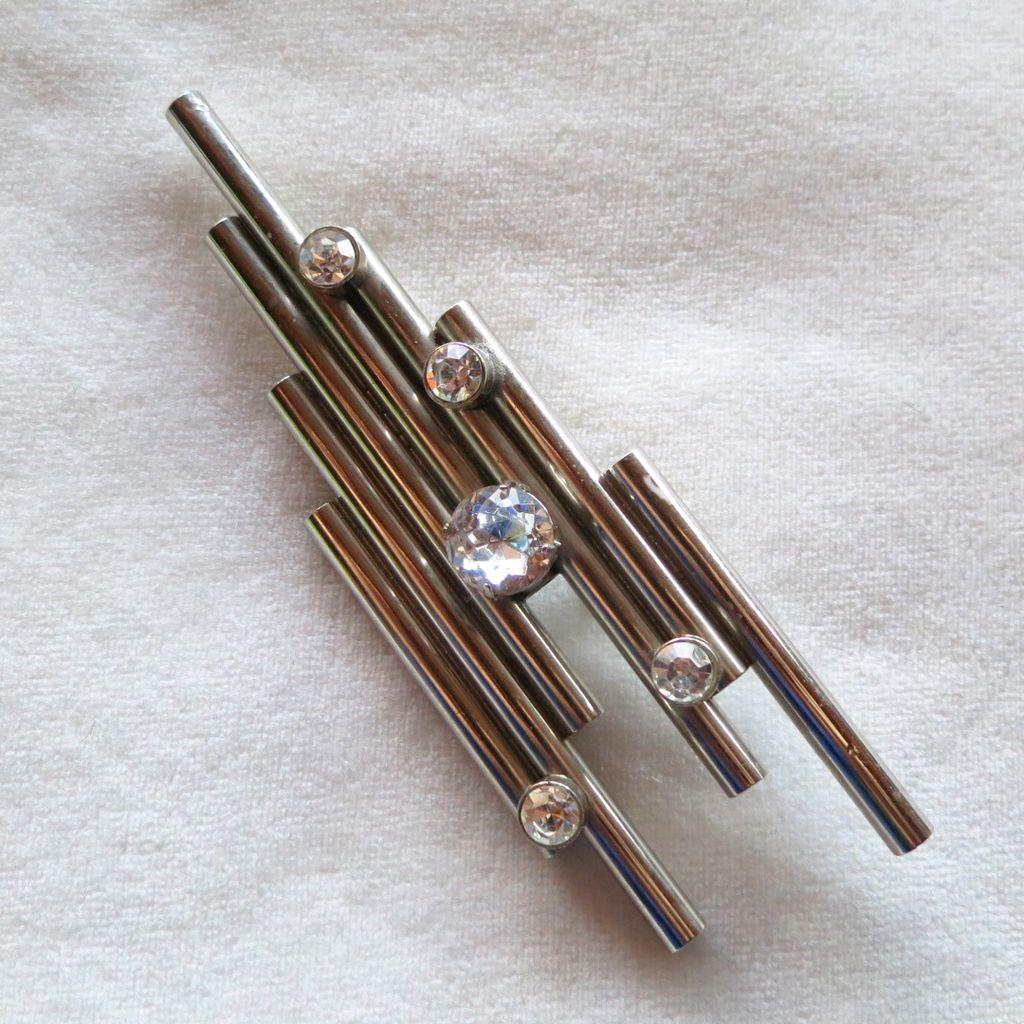Modernist silver tubes & rhinestones brooch