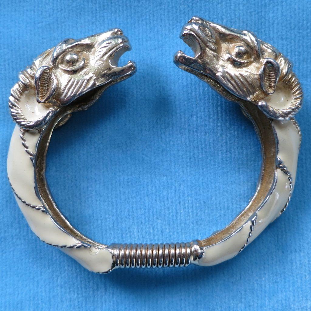 Donald Stannard enamel ram's head bracelet