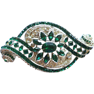 Vintage Staret Large Art Deco Green Clear Rhinestone Brooch