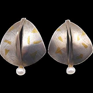 Vintage Modernist Keum-Boo Sterling Gold Pearl Artisan Pierced Earrings