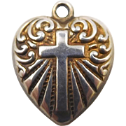 1940s Sterling Religious Cross Puffy Heart Charm