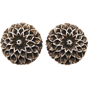 Vintage Sterling Silver Dahlia Flower Clip Earrings