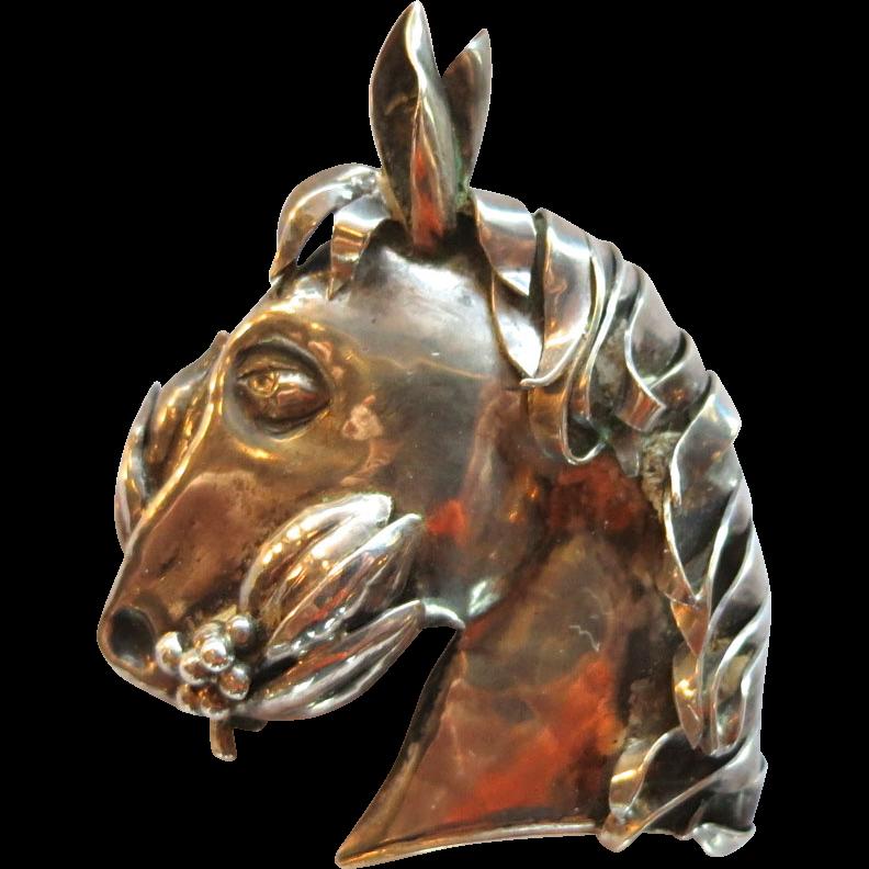 Austria 935 Sterling Horse Figural Brooch