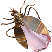 Large 1940's Sterling Insect Pin with Faceted Pink Crystal Body