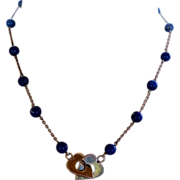 Sterling heart and lapis bead necklace