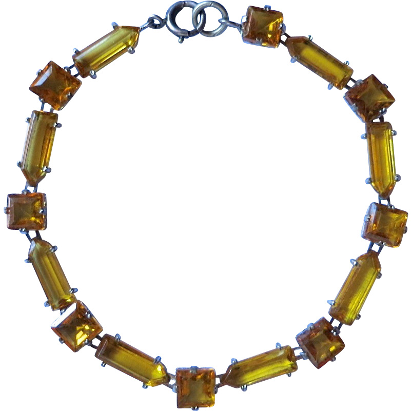 Art Deco Sterling Faux Topaz Glass Bracelet