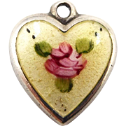 1940s Sterling Enamel Yellow Guilloche Rose Puffy Heart Charm