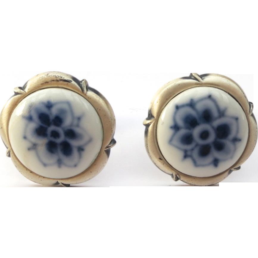 Sterling Royal Copenhagen Porcelain Blue Flower Cufflinks