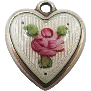 1940s Sterling Enamel White Guilloche Rose Puffy Heart Charm