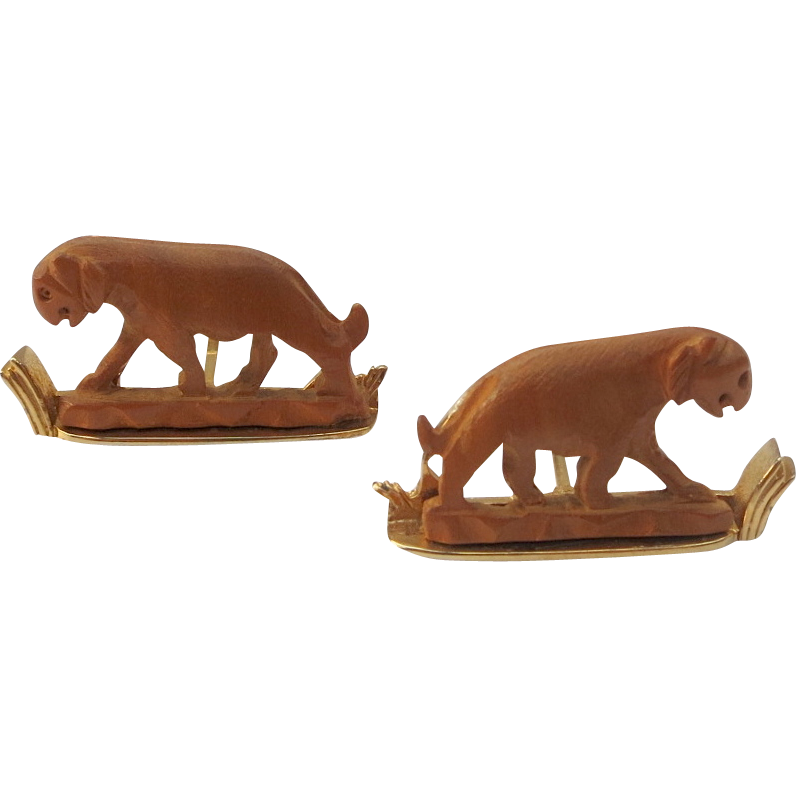 Rare Swank Arts of the World Carved Sandalwood Tiger Cufflinks