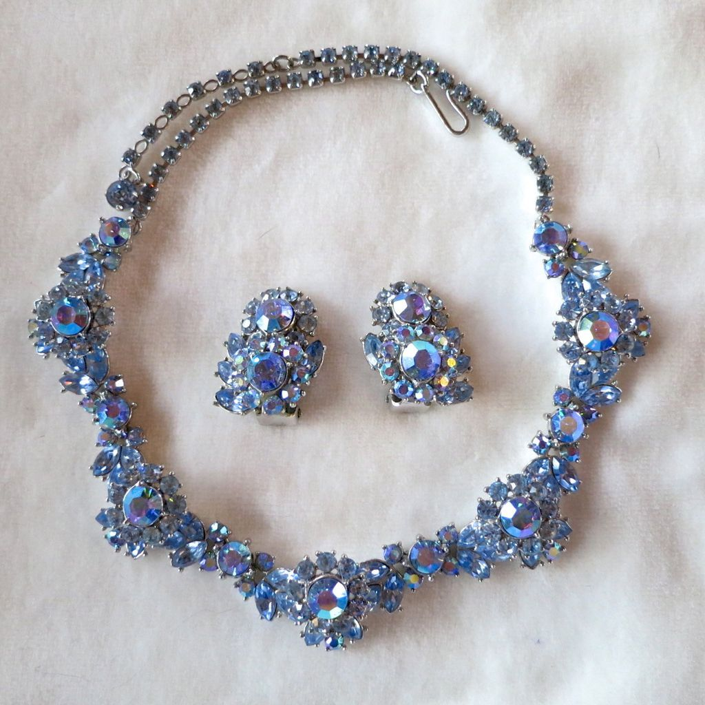 Trifari blue AB rhinestone necklace & earrings set
