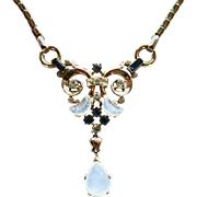 Vintage Trifari Clair de Lune Moonstone Rhinestone Necklace
