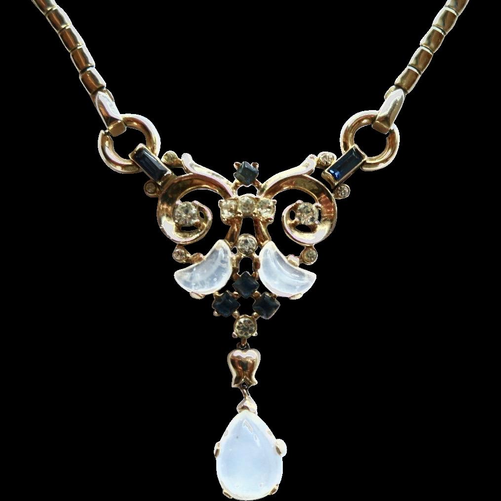 Vintage Trifari Clair de Lune Moonstone Rhinestone Necklace