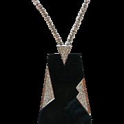 Trifari MOD Art Deco Style Black Lucite & Rhinestone Pendant Necklace BOOK PIECE!