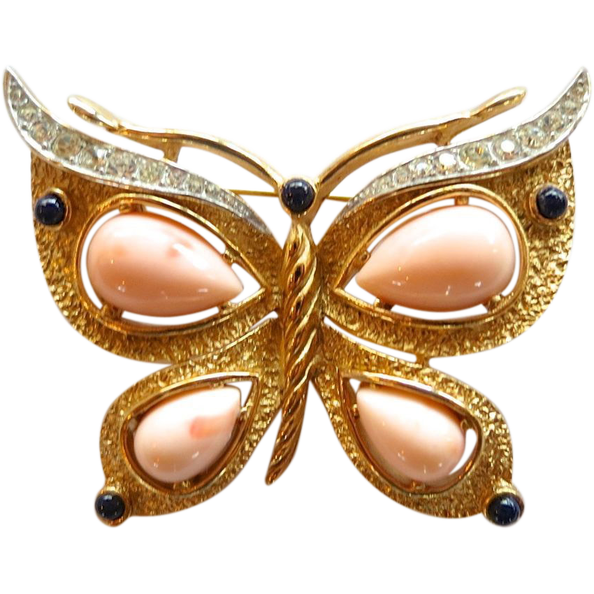 RESERVED!!!   Trifari Faux Angel Skin Coral and Rhinestone Butterfly Brooch