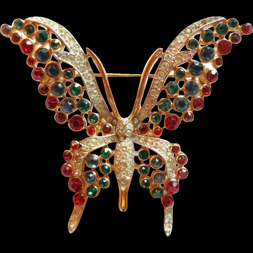 Vintage Trifari Red Green Blue Clear Rhinestone Butterfly Brooch