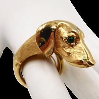 Adorable Trifari Dachshund Ring Adjustable Size 5-7