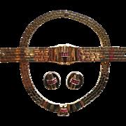 Vintage Trifari 1948 Park Avenue Tessellated Link Red Rhinestone Necklace Bracelet Earrings Set