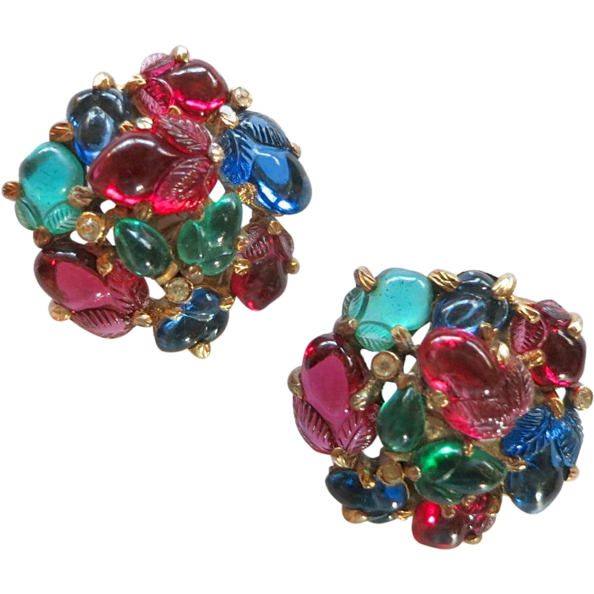 Alfred Philippe Trifari Fruit Salad Tri-color Clip Earrings