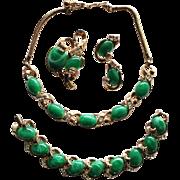 Vintage Trifari Green Swirled Cabochon and Rhinestone Grand Parure