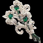 Vintage Trifari Green Clear Rhinestone Enamel Floral Fur Clip