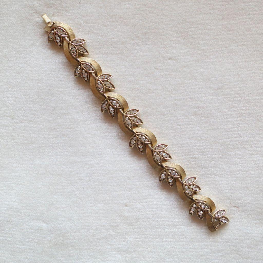 Vintage Trifari Rhinestone Leaves Bracelet