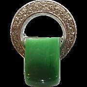 Trifari Green Lucite & Rhinestone Art Deco Style Brooch