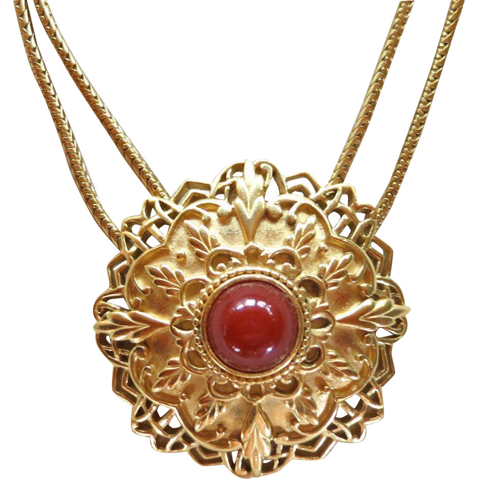 1970's Trifari Ornate Medallion and Faux Carnelian Cabochon Necklace
