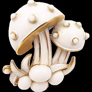Vintage Trifari White Enamel Mushrooms Brooch