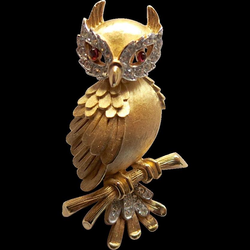 Trifari Rhinestone Owl Brooch