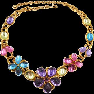 Vintage Trifari Pastel Cabochons Flower Necklace