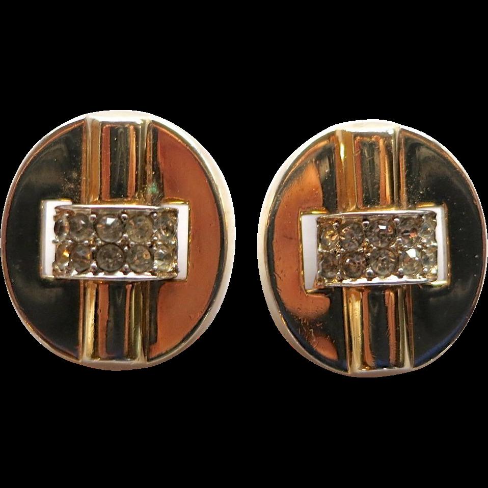 Trifari Retro 1940's Rhinestone Clip Earrings