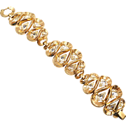 Vintage Trifari Wide Swirls of Ribbons Rhinestone Bracelet