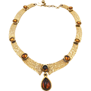 Vintage Trifari Textured Gold Faux Topaz Cabochon Collar Style Necklace